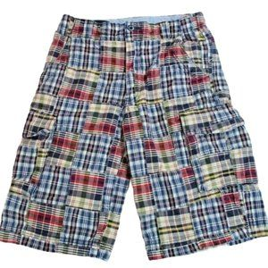 Lands End Boys Shorts 100% Cotton Cargo Plaids 14